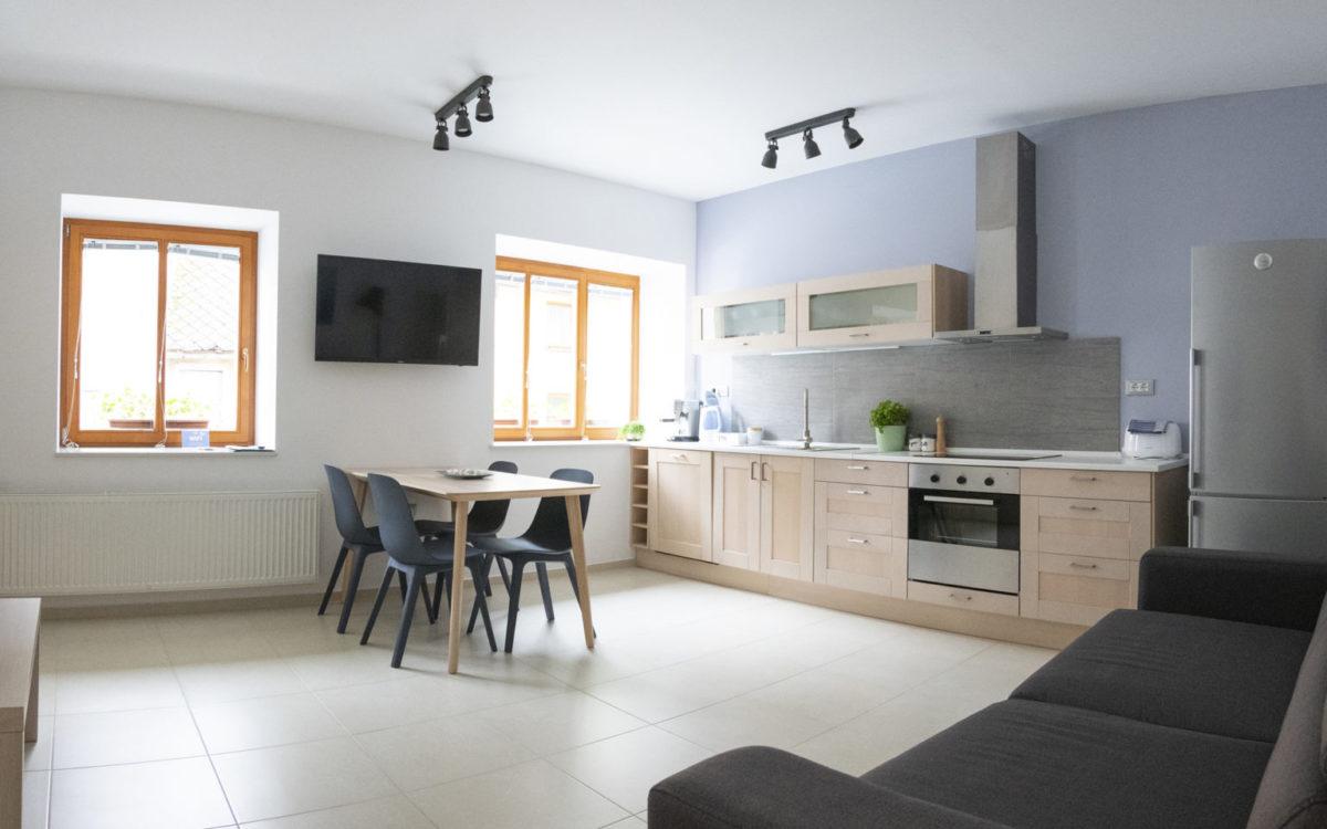 Apartma Bike - dnevni prostor z kuhinjo in jedilnico